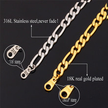 Gold chain for men Gift with 18k stamp Gold plated 316L stainless steel Figaro chain necklace