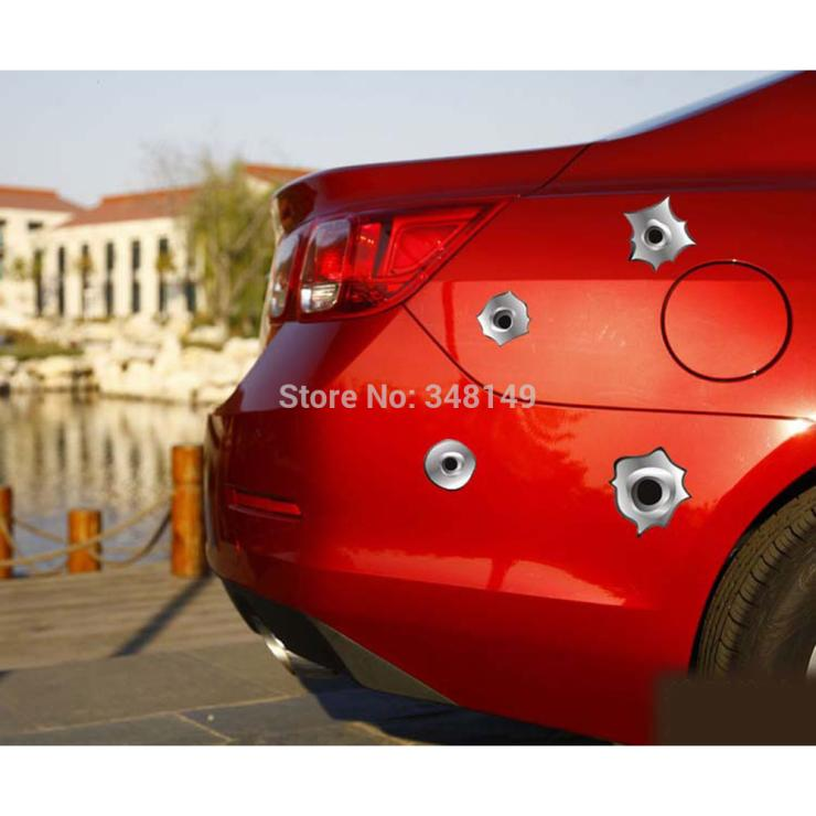12 x Funny Simulation Gun Bullet Hole Stickers Car Decal for Toyota Chevrolet cruze Volkswagen skoda VW Hyundai Kia Lada opel(China (Mainland))