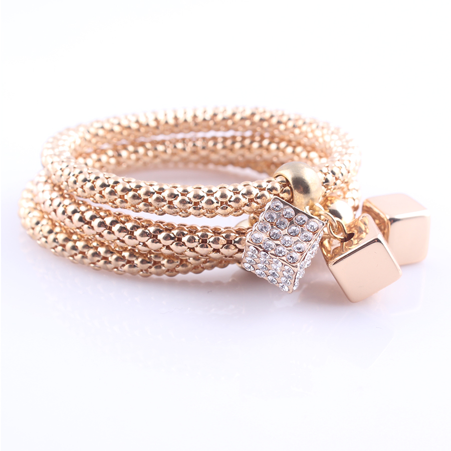 2016 New Gold Plated Snake Chain Bracelet Pave Crystal Cube Charms Bracelet Bangles for Women 3pcs B335(China (Mainland))