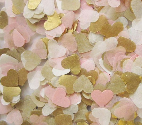 Free ship lot of 1000 baby pink gold white tissue paper heart confetti wedding birthday party