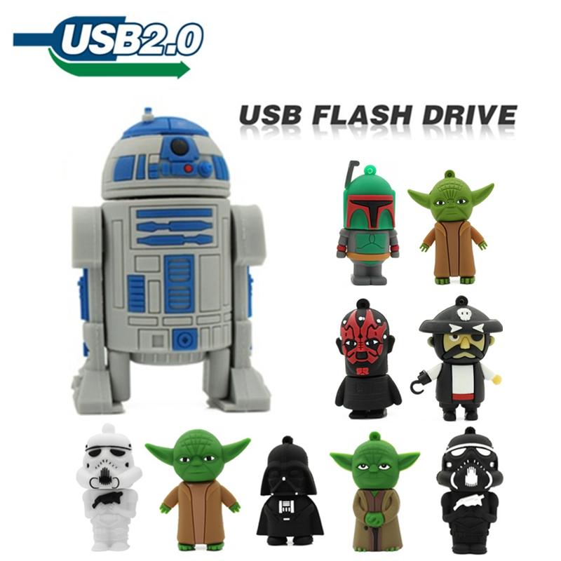 pen drive 64GB 32GB 4GB 8GB 16GB usb flash drive jump drive star wars Master Yoda darth vader robot USB 2.0 pendrive u disk(China (Mainland))