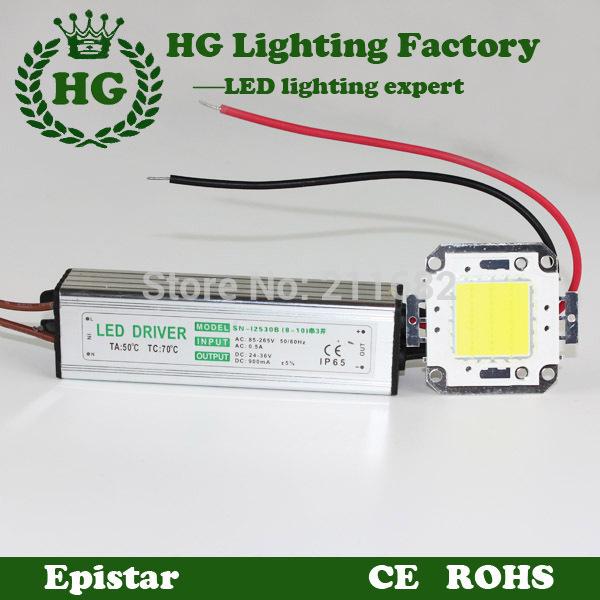 One 10W 20W 30W 50W 100W COB High Power RGB LED chip led flood light chip + One LED power supply Led floodlight driver(China (Mainland))