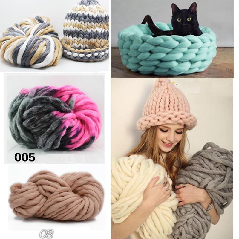 Super Thick ply yarn 20Color Soft Wool Roving Bulky Big Yarns Spinning Hand Knitting Thread Crochet Yarn for Hat Scarf Knitting
