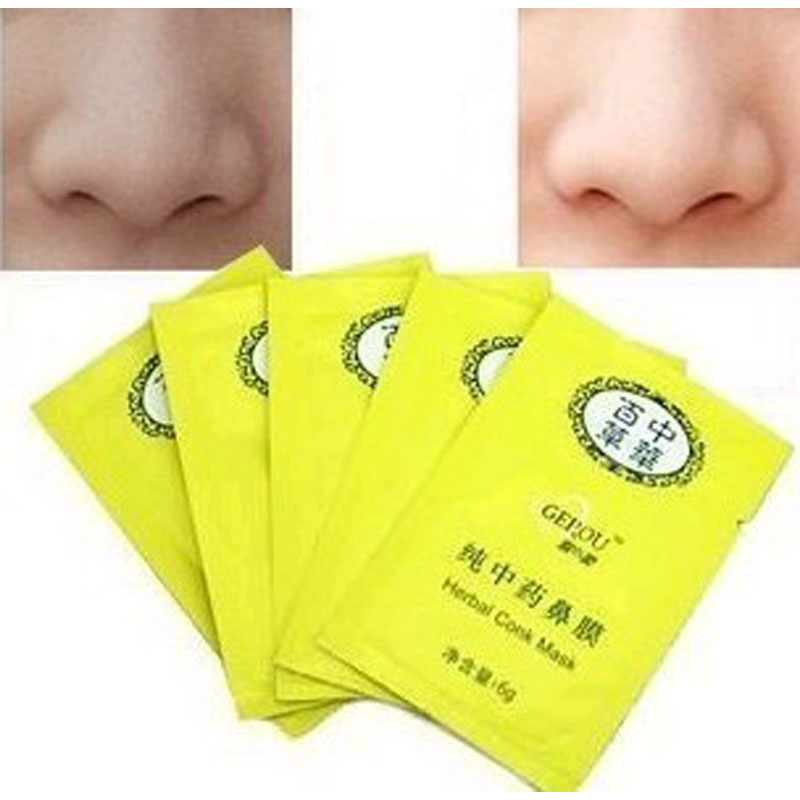 10 pcs herbal deep cleansing nose pores blackhead remove mask face for skin care free shipping(China (Mainland))