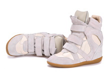 Isabel Marant Women Beige Plush Winter Shoes Height Increasing 8cm Fashion Sneakers