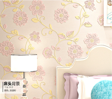 QZ-04 Non-woven 3D Three-dimensional Thickening flocking Simple Bedroom Wallpaper Countryside Floret Living room Walls Wallpaper(China (Mainland))