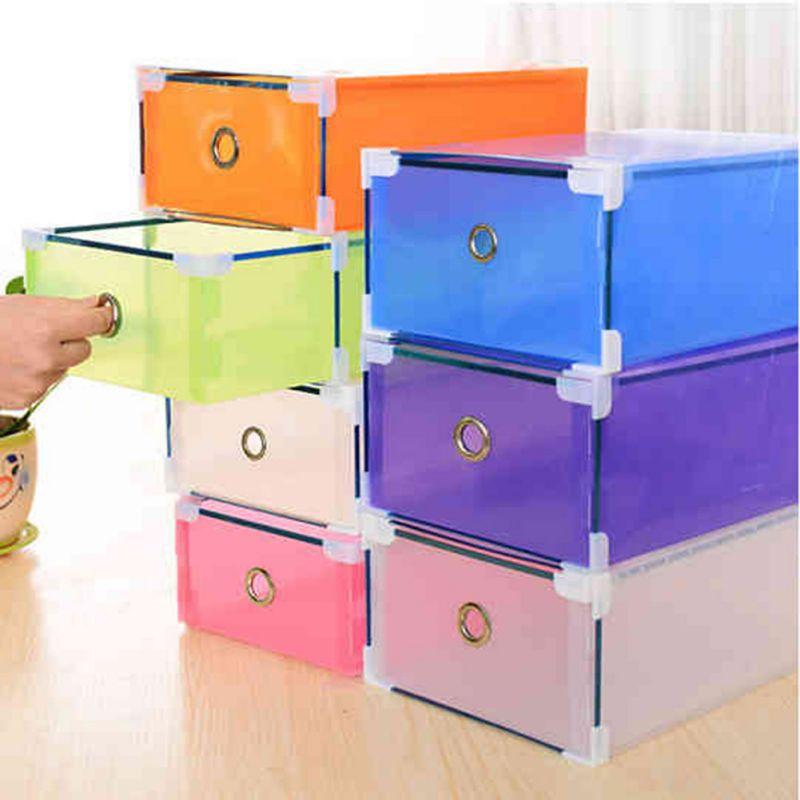 Multi-Color Plastic Shoe Storage Box Case Boot Foldable Drawer Holder Shoes Organizer P1(China (Mainland))