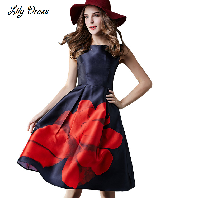 2015 Early Spring Summer New Fashion Women's Elegant Knee-length Flowers Printed A-line Casual 16 Style Vest Dress(China (Mainland))