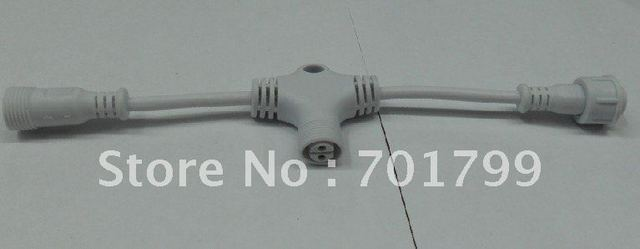 2core T type waterproof splitter;white color;the male connect's diameter;13.5mm