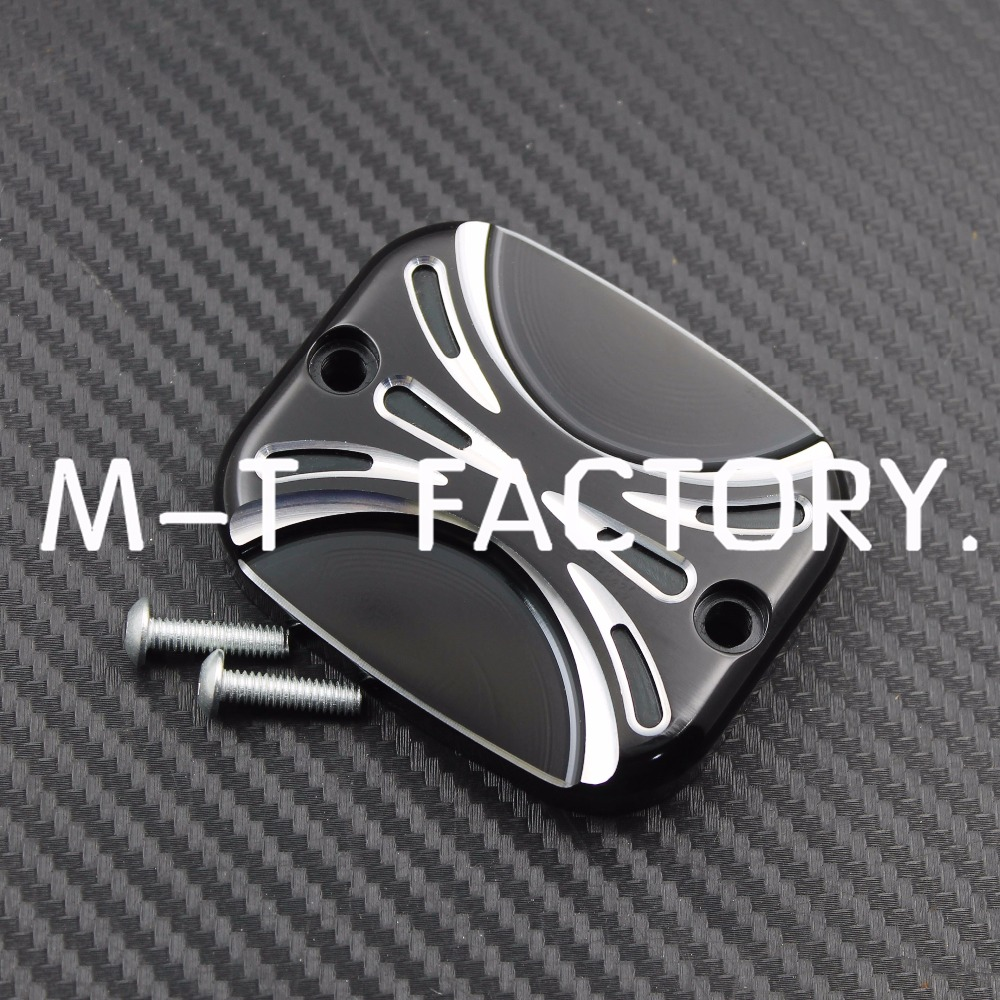 Black Chrome Aluminium CNC Front Brake Reservoir Master Cylinder Cover Fit Harley Road King gliding 01-07 Soft tail Dana96-15(China (Mainland))