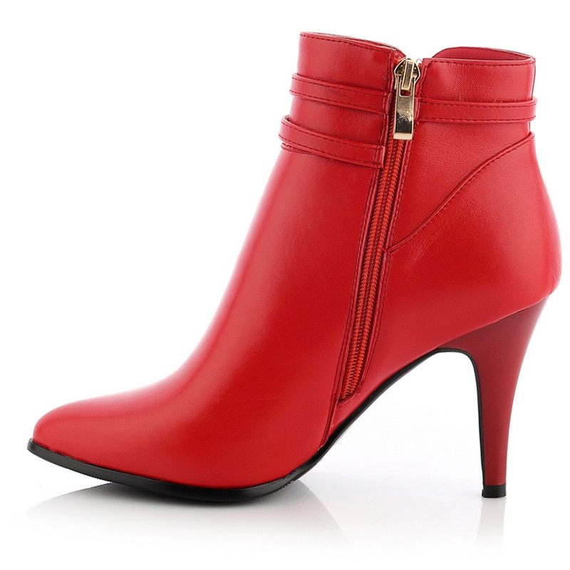 Здесь продается  2016 new arrive pointed toe zipper buckle stiletto high heels women ankle boots fashion genuine leather winter boots  Обувь