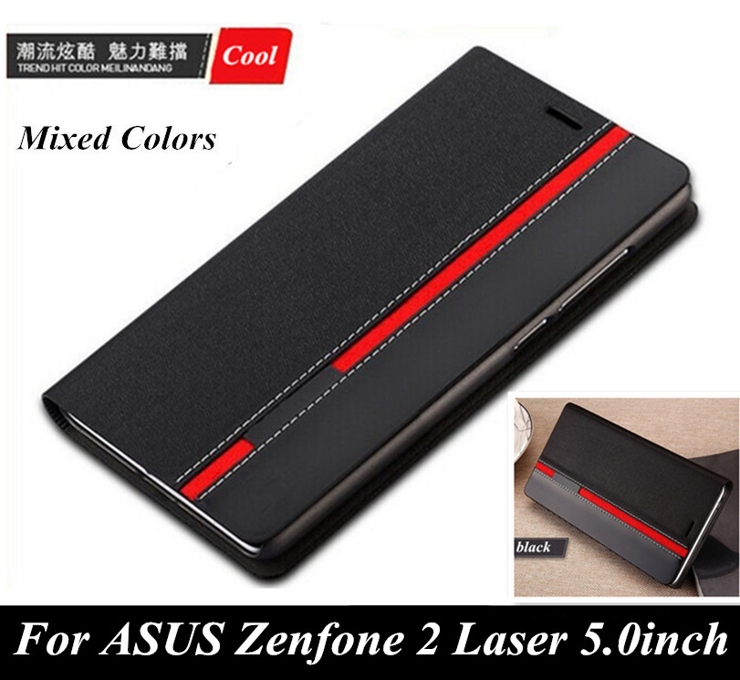 Luxury wallet style Phone cover Mixed colors top leather case ASUS Zenfone 2 Laser 5.0inch ZE500KL / ZE500KG card slot  -  Jack Market  store