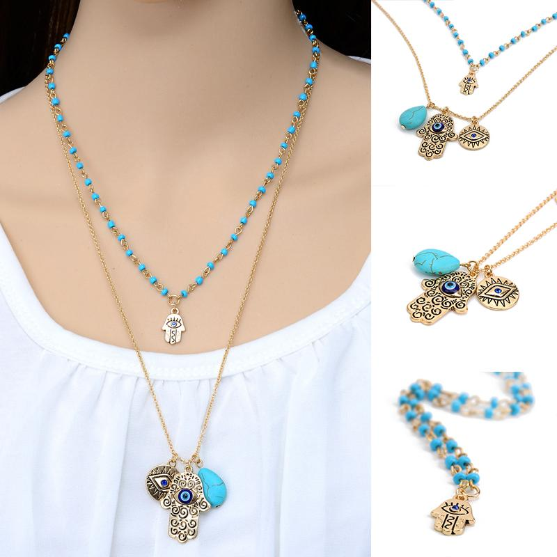 Vintage Multilayer Gold Plated Chain Fatima hamsa Hand Pendants Necklace Luck Hand Turquoise Palm nice Necklace collares #86973(China (Mainland))