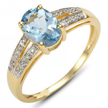 Fashion New Size 6,7,8,9,10 Woman's Jewelry Amazing Blue Aquamarine 18k Yellow Gold Filled Ring Gift R035YBA