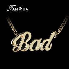 HipHop Steampunk Style Monogram Masculine Necklace Gold Color Chain BAD Letter  Pendant Necklaces For Men and Women(China (Mainland))