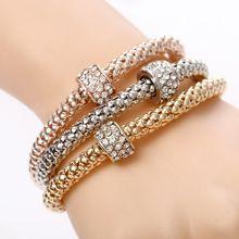 3 Pcs/Set Crystal Owl Heart Charm Bracelets & Bangles Gold/Silver Plated Elephant Anchor Pendants Rhinestone Bracelets For Women(China)