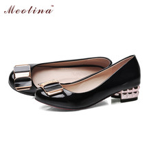 Large Size 42 43 Ladies Shoes Pumps Spring Round Toe Heels Patent Leather Career Sequined Thick Low White BB0A - Tina Co.,Ltd store