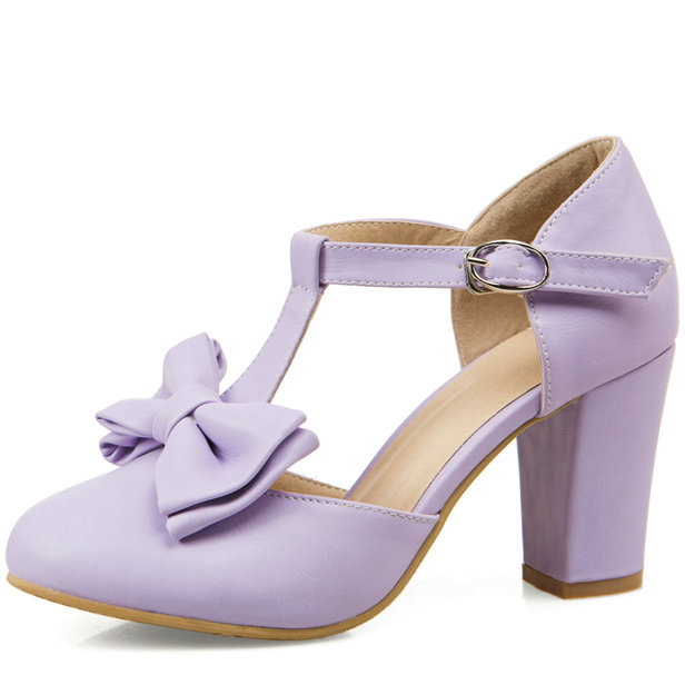 chunky heel platform high shoes 2015 new fashion woman T straps bowtie ankle heels wedding party pumps - ShenZhen LULU's Electronic Store store
