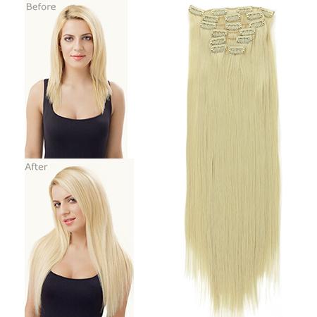 "Гаджет  Stylish Fashion Sexy 22""/55cm 150g  7pcs/set  Japan High Temperature Fiber Clip in Hair Extensions Straight Hair Extension 777 None Волосы и аксессуары"