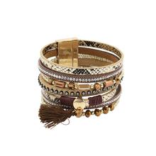 Bracelet Leather Bracelets & Bangles For Women Pulseira De Couro Feminina Crystal Magnetic Snake Skin Handmade Pulseras Mujer(China (Mainland))