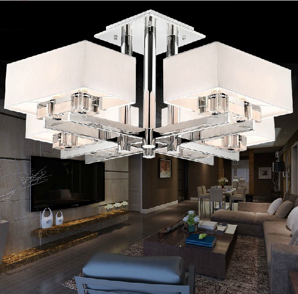 Modern Brief Crystal Ceiling Light  8 Head E14 Light Source Living room lights Free Shipping <br><br>Aliexpress
