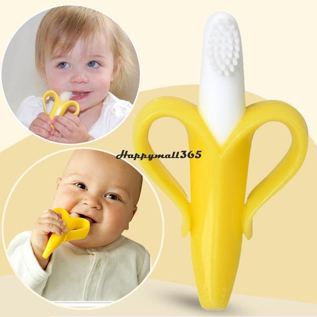 Самый дешевый высокое качество и экологически сейф-бэби прорезыватель зубное кольцо банан силикона зубная щетка бесплатная доставка 50