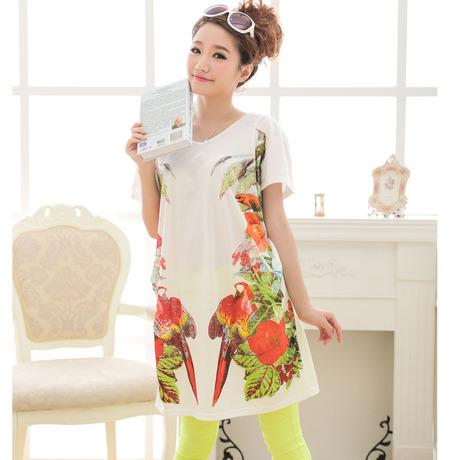 Parrot Print Summer Maternity Dresses,Cute Chiffon Casual Loose Long Pregnant Women Dress Clothing,Elegant Pregnancy Dress(China (Mainland))