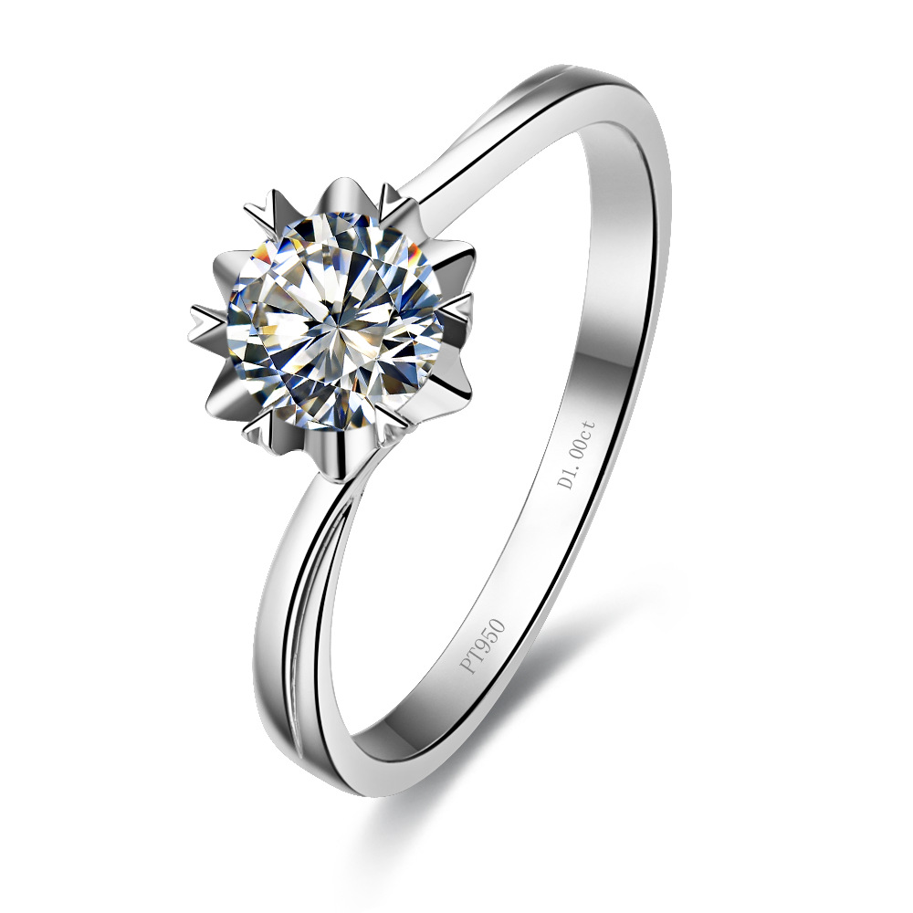 1CT Snowflake Cut Engagement Synthetic Diamond Ring For Women Sterling Silver