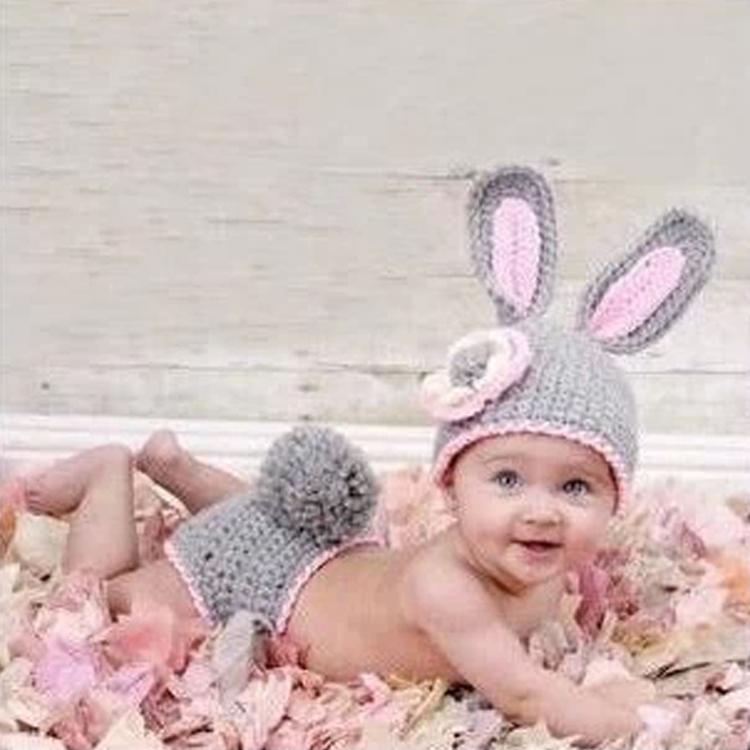 1 piece Hot Sale Girls Infant Newborns cap +Pants Crochet Knit Sweater Clothes Gray Pink Rabbit Free Shipping(China (Mainland))