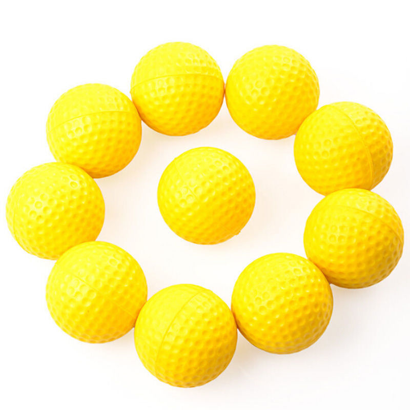 10pcs Plastic Golf Ball Outdoor Sports Yellow Soft Elastic Golf Balls Golf Practice Training Balls Training Aid(China (Mainland))