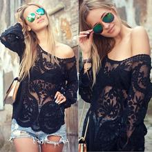 Buy Sexy Lace 2016 Autumn Women Blusas Shoulder Crochet Solid Shirts Long Sleeve Slim Casual Basic Tops for $13.16 in AliExpress store