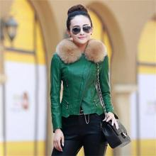 leather jacket women 2016 latest fashion natural raccoon fur collar winter jacket and Autumn coat women motorcycle leather coat(China (Mainland))