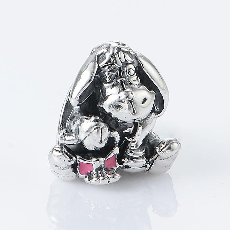 2015 new eeyore charms with pink enamel 925