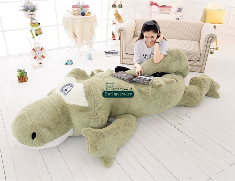 Dorimytrader Biggest 118\`\` 300cm Jumbo Crocodile Toy Plush Soft Stuffed alligator Sofa Tatami Free Shipping DY61038 (7)