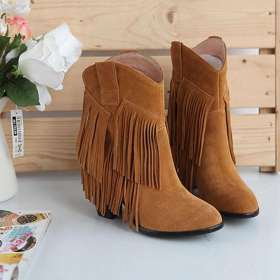 New Women Boots Style Pumps Boots Ankle High Fashion Suede Leather Fringe Moccasin Cow Boy Shoes women heels(China (Mainland))