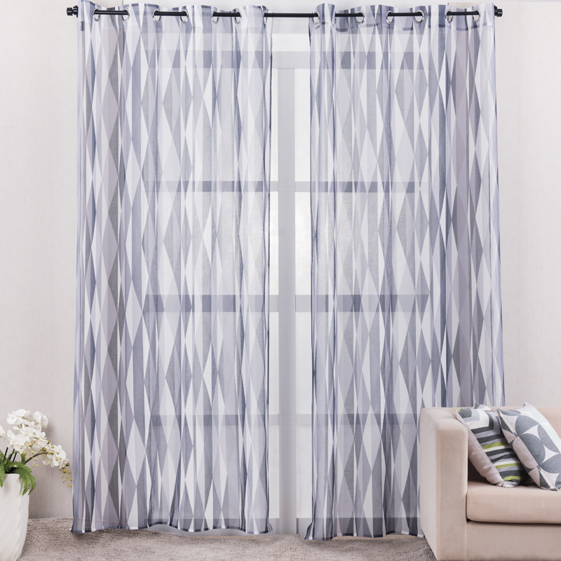Printed Grey Geometric Curtains For Living Room Modern Style Linen ...