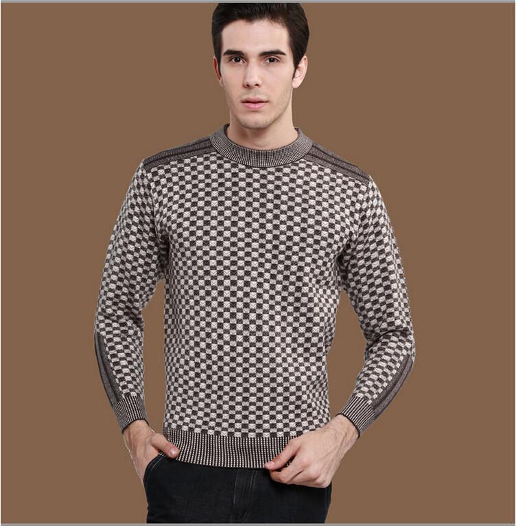 2015 new hot brand men's British fashion printing plus thick fat round neck men's casual sweater free shipping(China (Mainland))