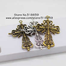 Buy Hollow Filigree Religious Cross Charms Pendants Metal Zinc Alloy Trendy Jewelry Cross Jewelry Making 12pcs 42*63mm 6605 for $4.34 in AliExpress store