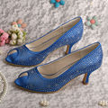 Wedopus MW364 Women Blue Satin Medium Heel Rhinestone Evening Prom Shoes Open Toe
