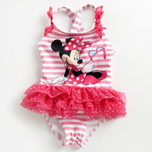 Girls Swimsuit 2016 New Children's Cartoon Swimsuit Girls Baby Swimsuit Children's Pink Lovely Mouse One-Piece Swimwear