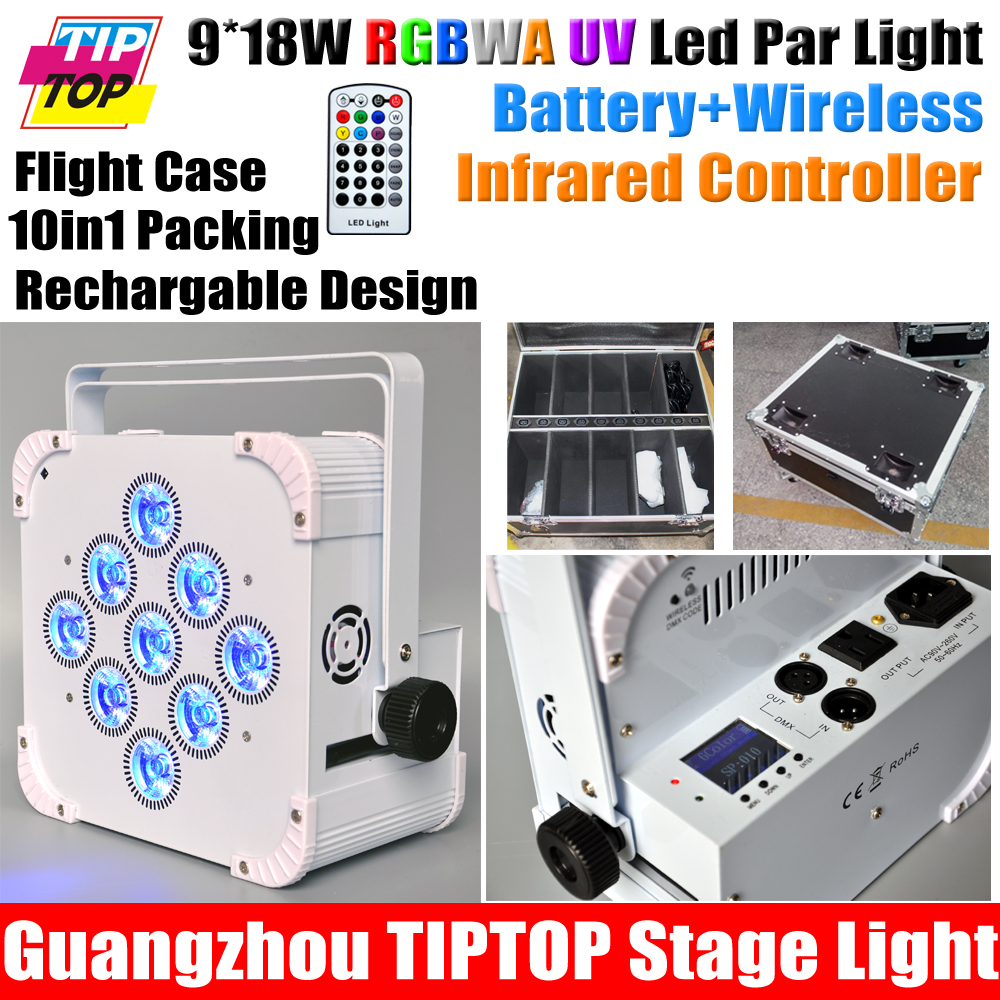 Charging Roadcase Packing 10IN1 WiFi TP-P114F Par Wireless DMX &amp; Battery Powered Flat LED Par Light 9x18W Bright Long Working<br><br>Aliexpress