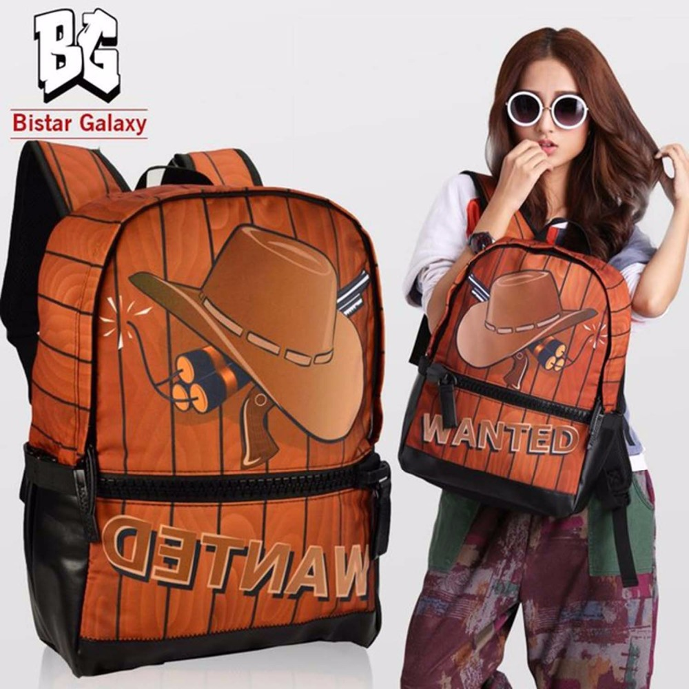 Bistar Brand 3D Cowboy Hat Printing Pattern Backpack The Whole Brown For Big Zipper Shoulders Bag Fashion Mochilas BBP122(China (Mainland))