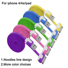 1M 2M 3M Good Quality Noodle Flat Colorful 2.0 USB Charging Sync Cord Data Cable for iphone mobile phone accessories