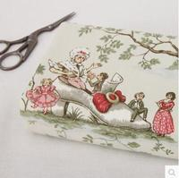 45x145cm Vintage Europe fairy tale Canvas Fabric Burlap for Sewing Textile Quilting  Diy for pillow curtain Purse
