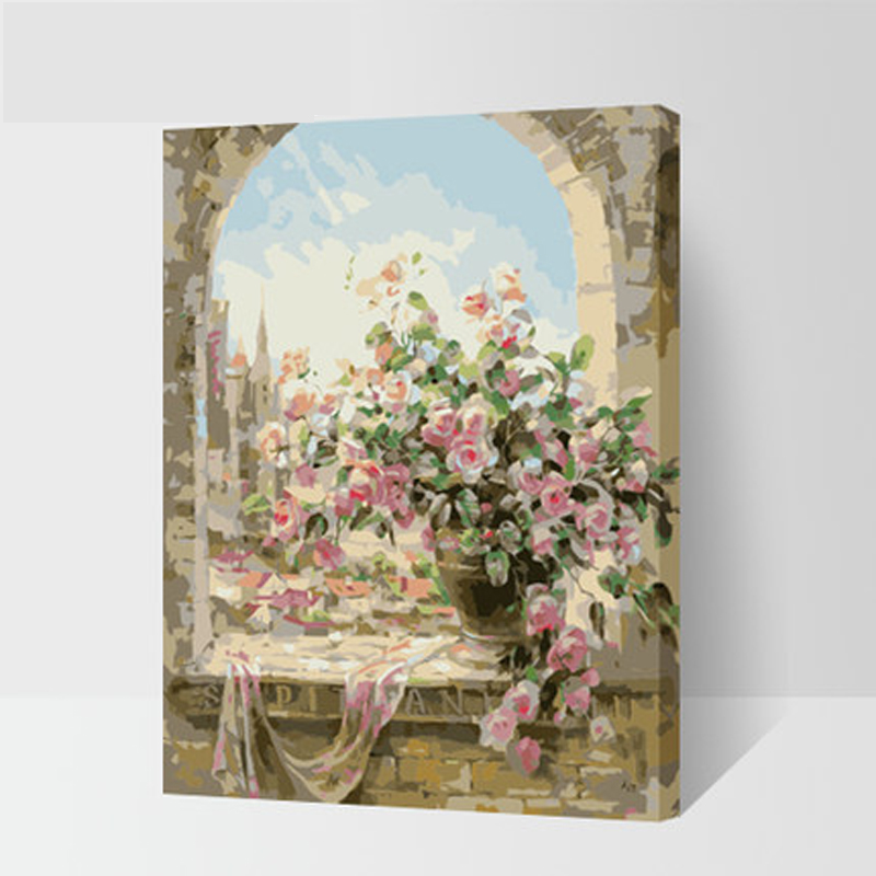 with frame Window Flowers Scene DIY Painting By Numbers Kits paintings for living room wall Coloring Painting By Numbers 40*50cm(China (Mainland))