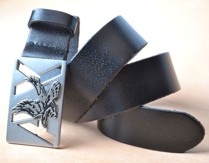 Full Grain Leather Belt Silver Eagle Buckle 100% genuine leather belt Free shipping YHBK082(China (Mainland))