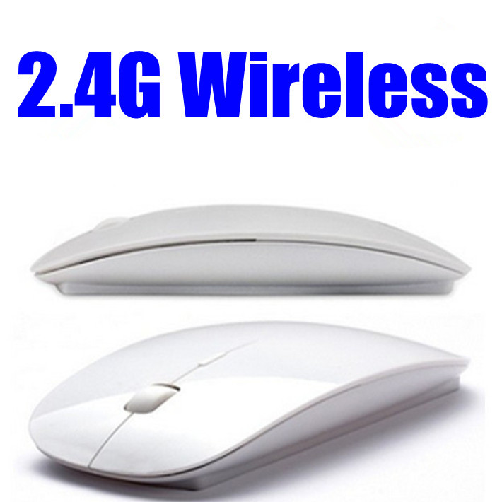 Free shipping Super thin 2.4G wireless Mouse white and black for apple ipad ,laptop and tablet pc(China (Mainland))