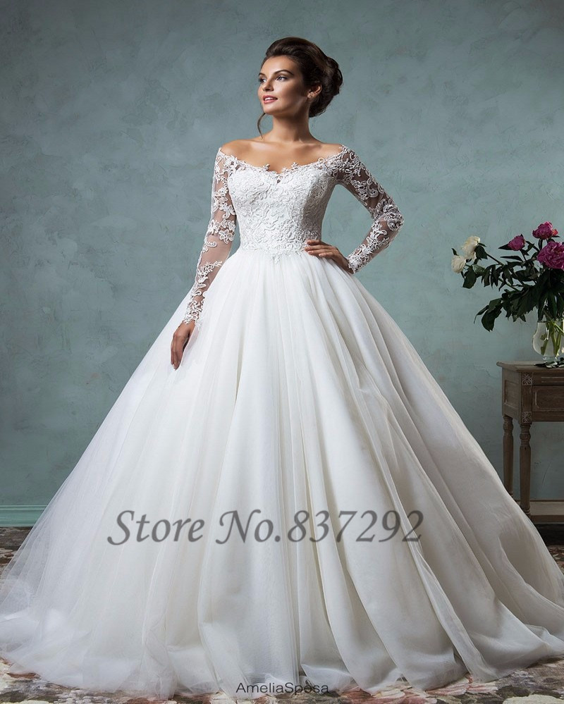 Hot Sell White Long Sleeve Lace Wedding Dresses 2016 Ball Gown Bridal Dress W