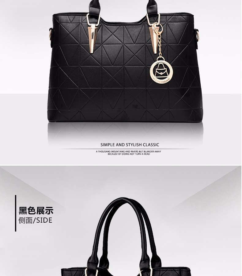 Occident Style Gorgeous Women Simple Handbag Embossed PU Leather Geometric Plaid Fashion Shoulder Bag Ladies PU Elegant Hand Bag