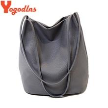 Yogodlns Women Leather Handbags Black Bucket Shoulder Bags Ladies Cross Body Bags Large Capacity Ladies Shopping Bag Bolsa(China (Mainland))